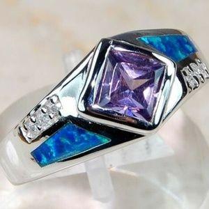 Amethyst & Australian Opal Inlay 925 Silver Ring 6